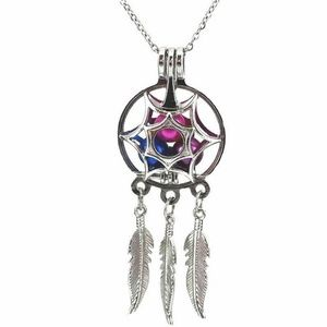 Jewelry - Dream Catcher Pearl Cage Necklace Silver